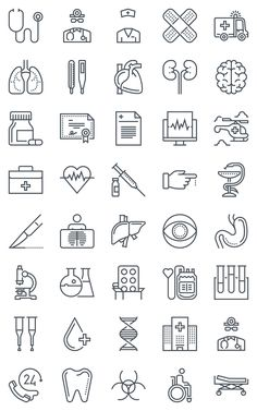 40 Hospital, health icons by howcolour on @creativemarket