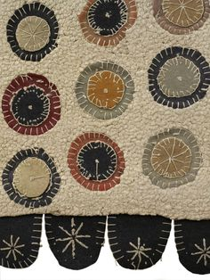 hooked, appliqued, embroidered penny rug, I love penny rugs, I love penny anything.  It is so Primitive, and I have a soft spot for PRIMS