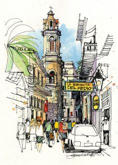 Urban Sketchers: Cuba (The heart of Old Havana. Hemingway knew these streets well, and was a regular for the mojitos at La Bodeguita del Medio. Sketch Painting, Watercolor Sketch, City Sketch, Illustration Art, Illustrations, Watercolor Architecture, Sketch Inspiration, Urban Sketchers, Art Sketchbook