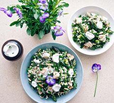 Warm Asparagus Salad and Goat Cheese Dip  | Lämmin parsasalaatti ja vuohenjuustodippi | Suusta suuhun