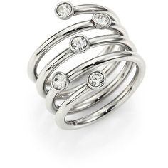 Michael Kors Brilliance Scatterd Crystal Wrap Ring ($100) ❤ liked on Polyvore featuring jewelry, rings, apparel & accessories, silver, crystal jewelry, crystal jewellery, crystal rings, wrap ring and crystal stone jewelry