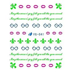 QINF 5PCS Anime Style Nail Art Fluorescent Watermark Stickers YG-041 ** Click image for more details.