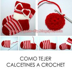 como tejer calcetines con ganchillo paso a paso Crochet Diy, Crochet Sole, Crochet Sandals, Newborn Crochet, Crochet Baby Booties, Crochet Slippers, Crochet For Kids, Crochet Stitches, Crochet Patterns