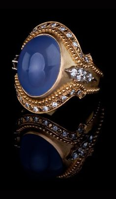 Chalcedony and Diamond Ring