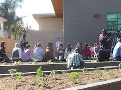 Another shot of kids from Hull Middle School enjoying their new sustainable gardens.
