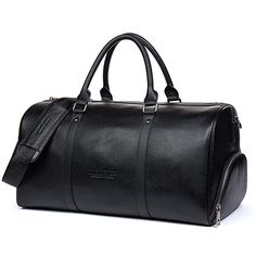 be453f7380f0 BOSTANTEN Genuine Leather Travel Weekender Overnight Duffel Bag Gym Sports  Luggage Tote Duffle Bags For Men   Women Review