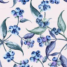 Background of a branch with blueberries. Seamless pattern. vetor e ilustração royalty-free royalty-free