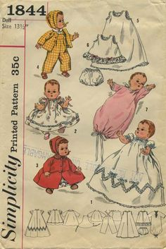 "Vintage Doll Clothes Sewing Pattern | Simplicity 1844 | Year 1956 | For 13½"" Doll"