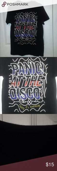 P!ATD Death of a Bachelor Tee Bought from Hot-topic. Cut off tag. S/M, just a little long on me. Can fit male or female. Can model Hot Topic Tops Tees - Short Sleeve
