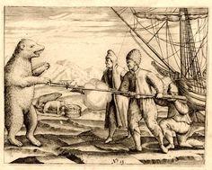 "Polar bear approaching Barent's men. Illustration from Gerrit de Veer ""Waerachtighe beschryvinghe van drie seylagien"", edition published in 1605 (University Library of Nijmegen, The Netherlands)"