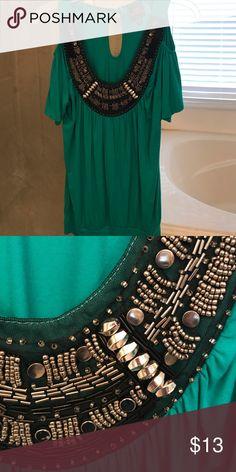 Jeweled peek through shoulder blouse. Beautiful emerald green off the shoulder blouse. 😍EUC! 2B Bebe Tops Blouses