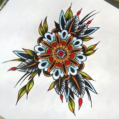 """Colourful mandala flower leafy times. #drawing #tattoo #tattoodesign #mandala #mandalatattoo #flower #neotrad #neotraditional #newtraditional #promarker"""