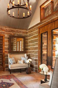 Log home foyer http://kristinpeakeinteriors.com/showcase/project_3.html