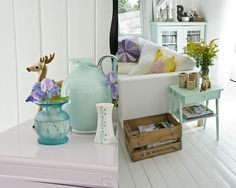 Pretty teal side table.