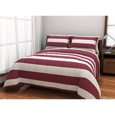 I like the country feel. Could use burlap for decorating things with this.  American Originals Rugby Stripe Bed in a Bag Bedding Set, Burgundy