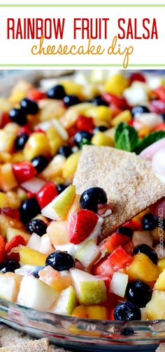 Light and refreshing Rainbow Fruit Salsa (No Bake) Cheesecake Dip is the perfect make ahead dessert/appetizer!! Dip Recipes, Fruit Recipes, Yummy Recipes, Dessert Recipes, No Bake Cherry Cheesecake, Fruit Snacks, Fruit Party, Fruit Dishes, Carlsbad Cravings