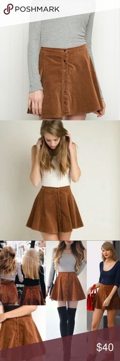 """Brandy Melville Brown BRYA Skirt Perfect fall staple! No size tag measures 14"""" length and 25"""" waist will most likely fit an XS/S. Sold out. Never worn. Last picture shows the plastic price tag Brandy Melville Skirts Mini"""