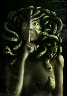 Medusa was a monster, one of the Gorgon sisters and daughter of Phorkys and Keto, the children of Gaea (Earth) and Oceanus (Ocean). Medusa Hair, Medusa Tattoo, Medusa Headpiece, Medusa Drawing, Medusa Gorgon, Mythological Creatures, Mythical Creatures, Dark Creatures, Turn To Stone