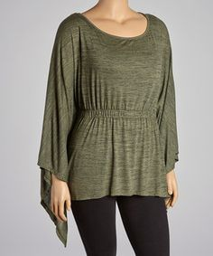 Look what I found on #zulily! Olive Shirred Sidetail Top - Plus by CANARI #zulilyfinds