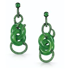 Emerald earrings designed around important antique jadeite, Solange Azagury Partridge.