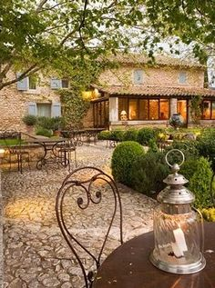 Rustic Villa with stone patio.