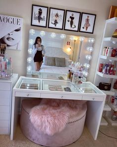 Get ready to slay all day in our new SlayStation® Plus Standalone Vanity Table! Securely mount your Hollywood Glow® XL or Hollywood Glow® Plus Vanity Mirror (sold separately) on the table top for a beautiful, seamless look. The Impressions Vanity SlayStat Bedroom Decor For Teen Girls, Cute Bedroom Ideas, Cute Room Decor, Girl Bedroom Designs, Teen Room Decor, Room Ideas Bedroom, Teen Girl Bedrooms, Girls Bedroom Ideas Teenagers, Teen Bathroom Decor