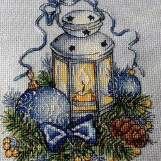 """Finished work by pattern """"Blue Lantern"""" #sa_stitch #sa_pattern #pattern #crossstitch"""