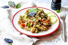 Veganes One Pot Rezept | Mediterraner Quinoa-Salat mit Champignons