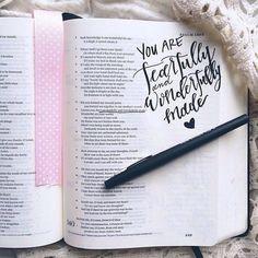 How to start Bible Journaling My Bible, Bible Art, Bible Quotes, Bible Verses, Faith Quotes, Spiritual Tattoo, Bibel Journal, Quotes Arabic, Psalm 139 14