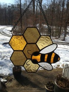 Stained Glass Honeybee on Comb by GlassStudio820 on Etsy