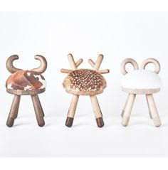 Bambi Sheep and Cow chairs - Tables et chaises pour enfants - EO - Bois Bambi, Living Room Chairs, Dining Chairs, Dining Room, Lounge Chairs, American Walnut, Modern Chairs, Modern Armchair, Chair Design