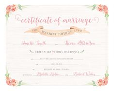 keepsake wedding certificate | Printable Marriage Certificate (8×10 Keepsake) » Red Pearl ...