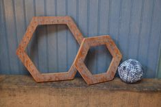 $25.90  2 Handmade Hex Looms Wood Hexagon Looms Primitive Country Cottage Chic Rustic Urban Farmhouse Decor Wood Lap Looms - I Ship Worldwide