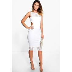 Boohoo Night Bree Lace Neck Cut Out Midi Dress ($30) ❤ liked on Polyvore featuring dresses, ivory, white lace cocktail dress, lace cocktail dress, white party dresses, white maxi dress and bodycon midi dress