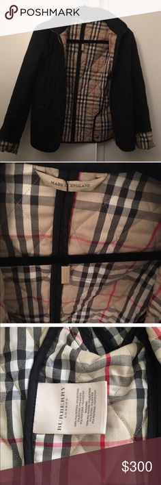Burberry classic quilted jacket New condition, zip up black classic quilted jacket with classic print and roll-up sleeves Burberry Jackets & Coats