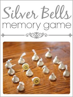 How fun!  Use Hershey Kisses in this Silver Bells Memory Game!