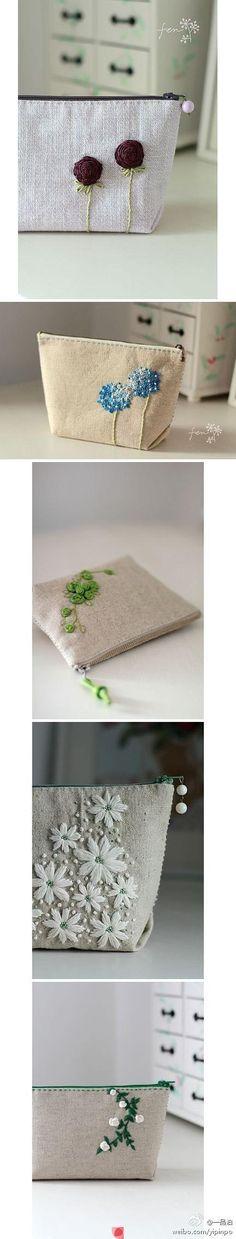 Bolsitas de tela con cierre con flores de liston o tela y bordadas