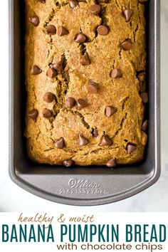 This healthy Banana Pumpkin Bread recipe is loaded with gooey chocolate chips! It's moist, delicious and absolutely the best pumpkin banana bread you'll ever have. Loaded with warm fall spices, and naturally sweetened with bananas and maple syrup, this easy pumpkin bread is the perfect fall recipe! Looking for more pumpkin recipes? Some of our … Pumpkin Banana Bread, Pumpkin Bundt Cake, Pumpkin Waffles, Pumpkin Chocolate Chip Cookies, Chocolate Chip Recipes, Chocolate Chips, Best Pumpkin Bread Recipe, Pumpkin Recipes, Cheesecake Recipes