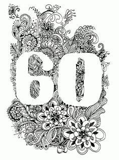 Doodle Karte 60. Geburtstag