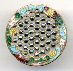 Large Antique Button...Rococo Enamel Border w Lattice of Sparkling Cut Steel
