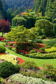 Sunken Garden at The Butchart Gardens, a National Historic Site of Canada, offering 22ha (55 acres) of stunning floral displays, Victoria, Vancouver Island, British Columbia, Canada