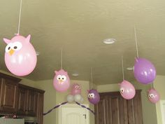 Owl Party ideas.  Balloons are so cute!  Also, simple cake and wall decoration.