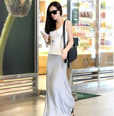 Casual Cotton Blend Skirt For Women (GRAY,ONE SIZE) China Wholesale - Sammydress.com