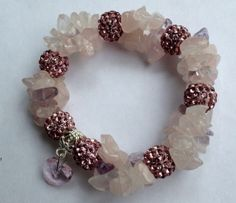 Angelic-Protection-Rose-Quartz-Bracelet-w-Charm-Hand-Made-Pagan-Wicca-Reiki