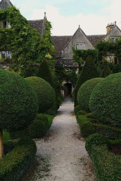 English Garden Design, traditional Cotswold stone house with topiary balls.