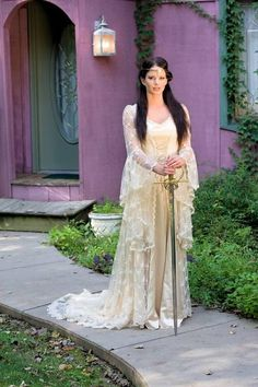 Mucha Inspired Medieval Romantic Beaded Lace Gown