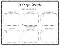 Here is a quick and fun math center that requires hardly any prep (just some photocopying) and will keep your students busy! Send your students on a 3D shape hunt. Give them the recording sheet and…