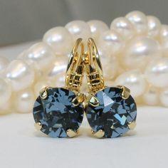 Navy Gold Earrings Drop Crystal Denim Blue Single by TIMATIBO