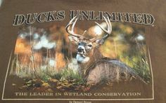 Mens Brown Ducks Unlimited Basic Short Sleeved T Shirt Large Used #DucksUnlimited #BasicTee