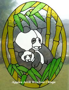 PANDA PAIR PANEL - faux leadlight / stained glass look window cling/decal.  Large A4 size